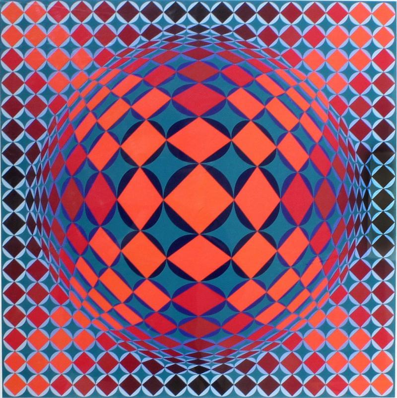 Victor Vasarely Bold Geometric Print by Victor Vasarely
