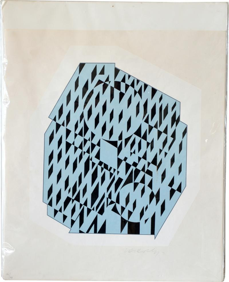 Victor Vasarely NETHE Signed and numbered Silkscreen Print by Victor Vasarely