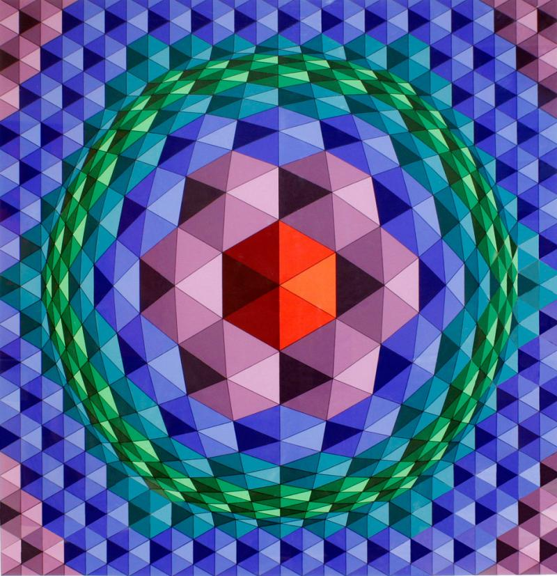 Victor Vasarely Victor Vasarely Geometric Print With Purple Frame 1970s
