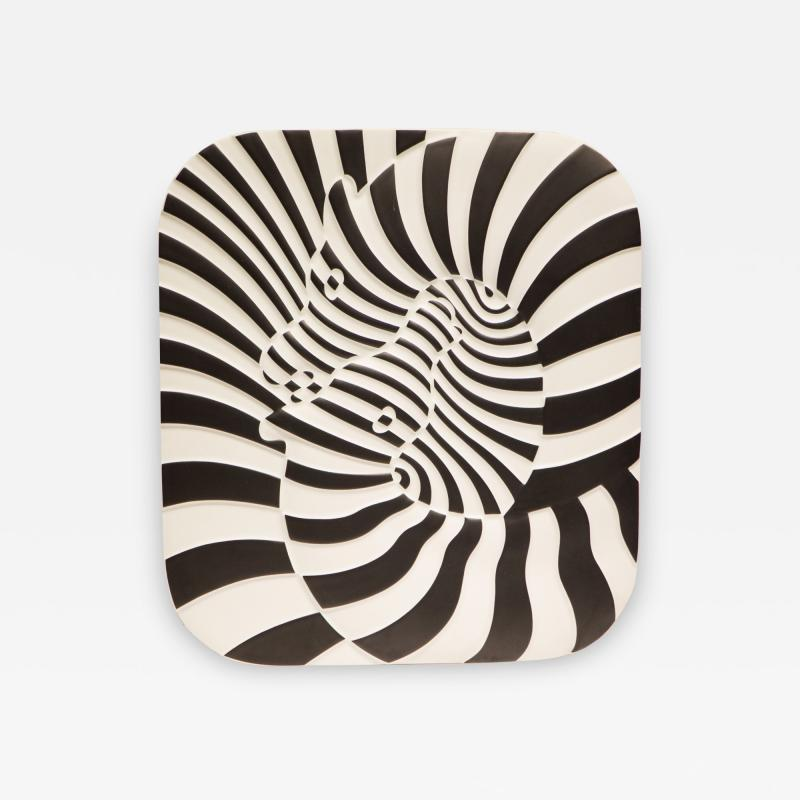 Victor Vasarely Victor Vasarely Op Art Plaque for Rosenthal