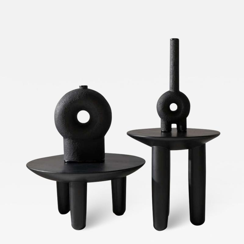 Victoria Yakusha Pair of Ash Contemporary Coffee Tables by FAINA
