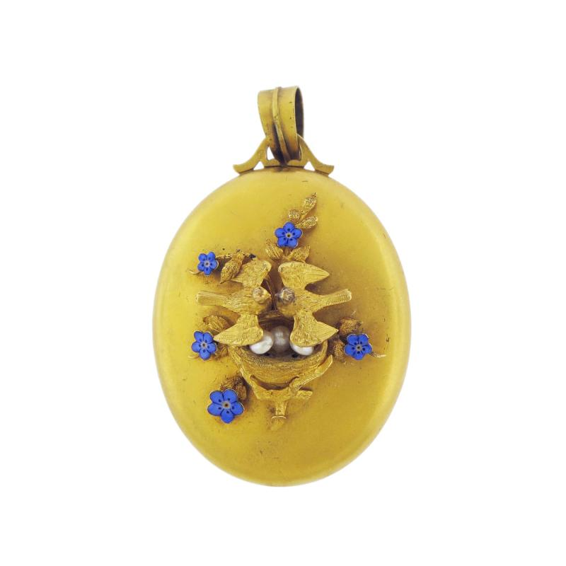 Victorian Blue Enamel Pearls Birds Locket Pendant