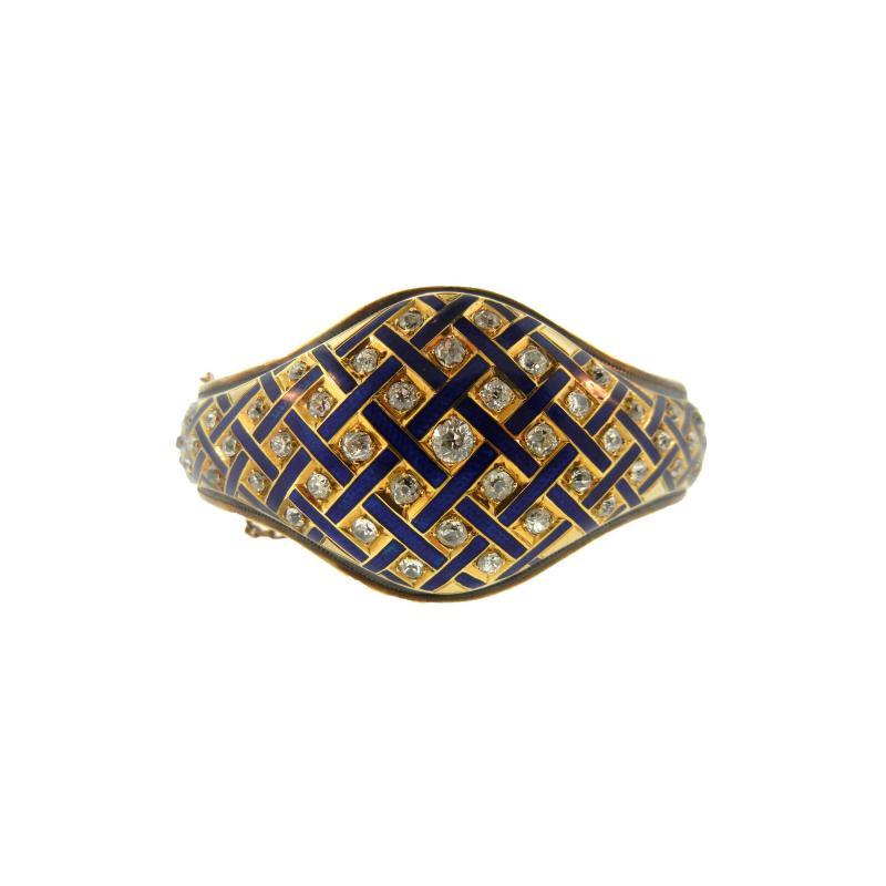 Victorian Blue Enamel and Diamond Gold Cuff