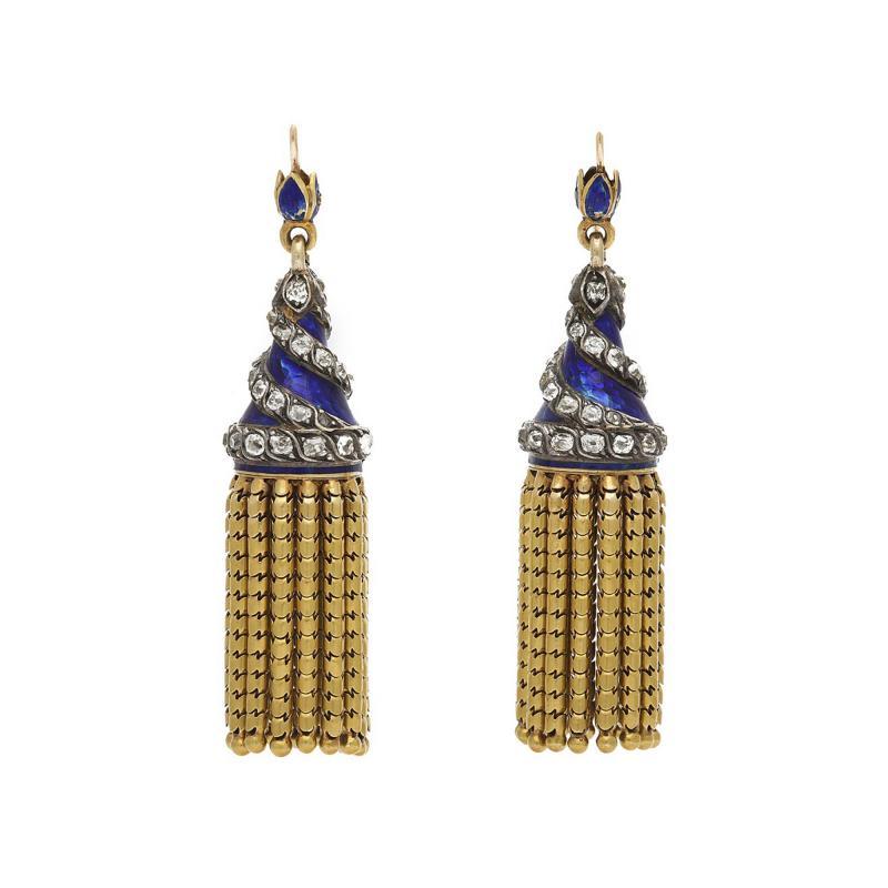 Victorian Blue Enamel and Gold Tassel Earrings
