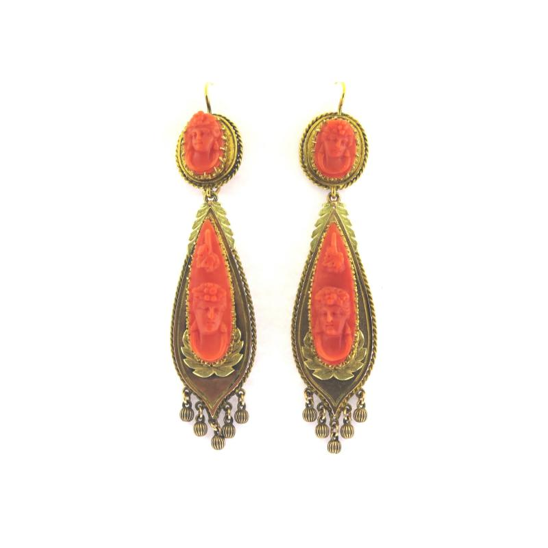 Victorian Cameo Coral Drop Earrings
