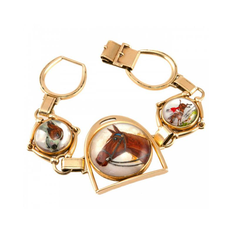 Victorian Equestrian Reverse Crystal Intaglio Gold Bracelet