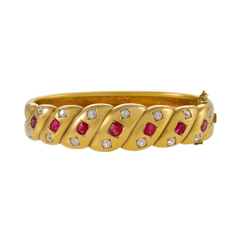 Victorian Gold Bangle Bracelet with Rubies and Diamonds