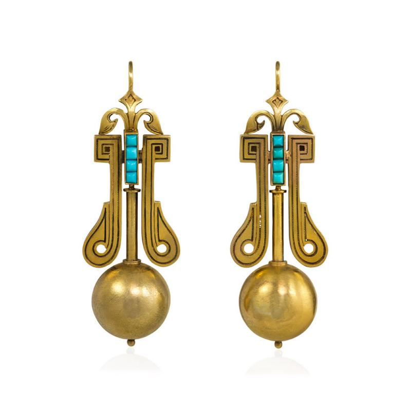 Victorian Gold Pendant Earrings with Scroll Motifs and Turquoise Accents