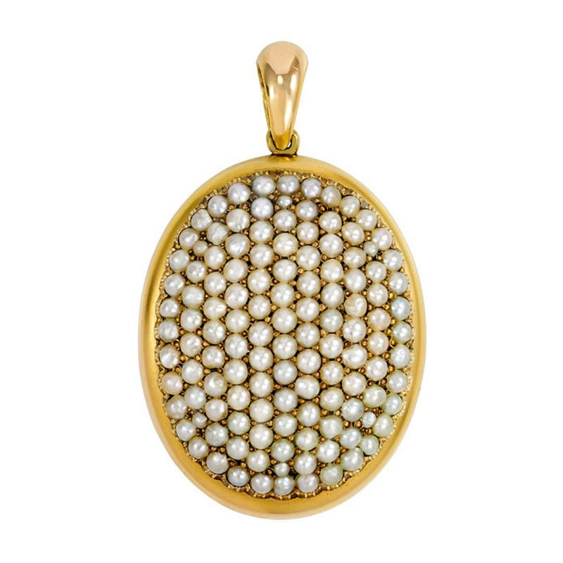 Victorian Gold and Pav Pearl Locket