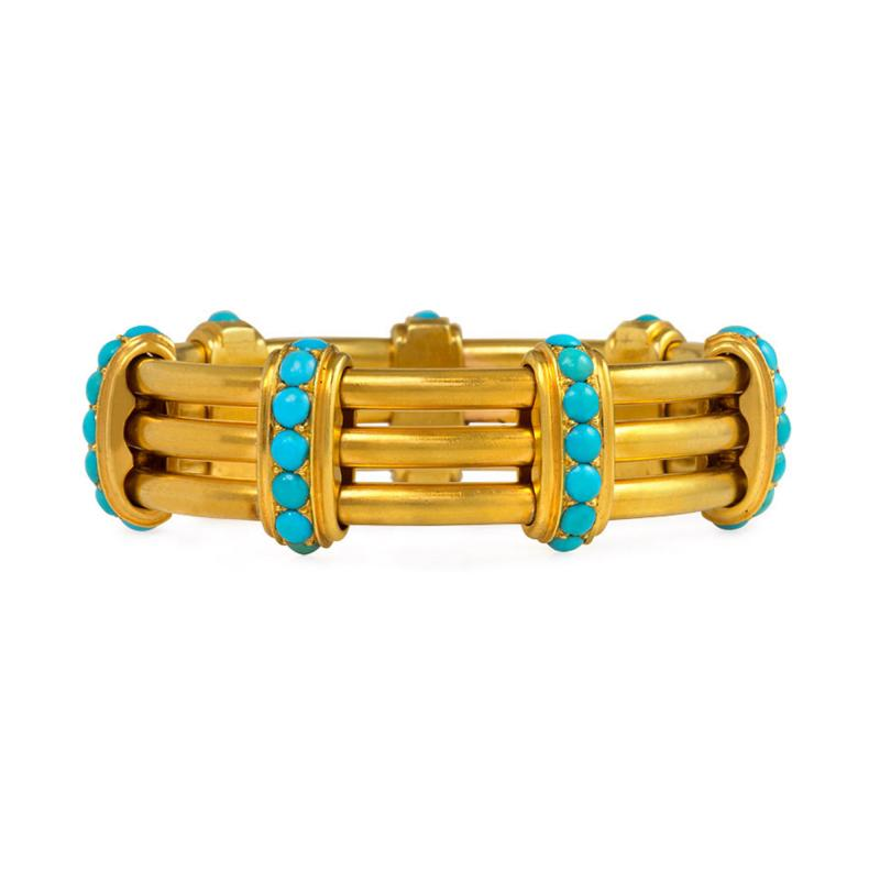 Victorian Gold and Turquoise Open Ribbed Bracelet
