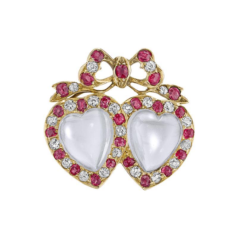 Victorian Moonstone Diamond Ruby Brooch