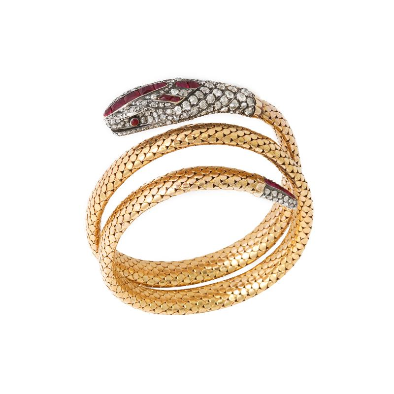Victorian Old Mine Diamond and Ruby Coiled Snake Bracelet