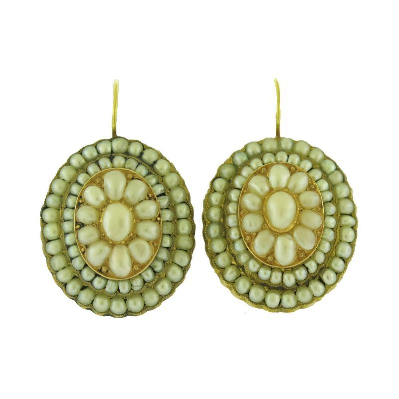 Victorian Pearl Cluster Earrings
