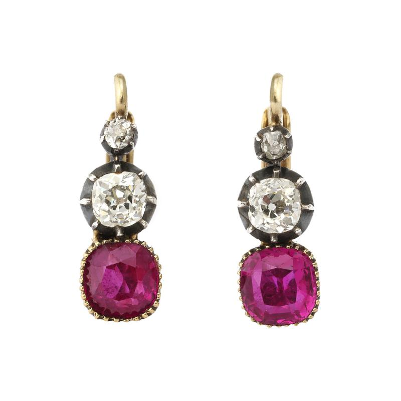 Victorian Ruby and Diamond Drop Earrings