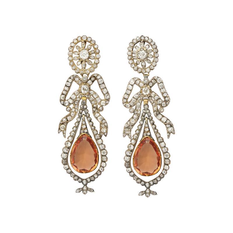 Victorian Topaz and Diamond Pendant Earrings