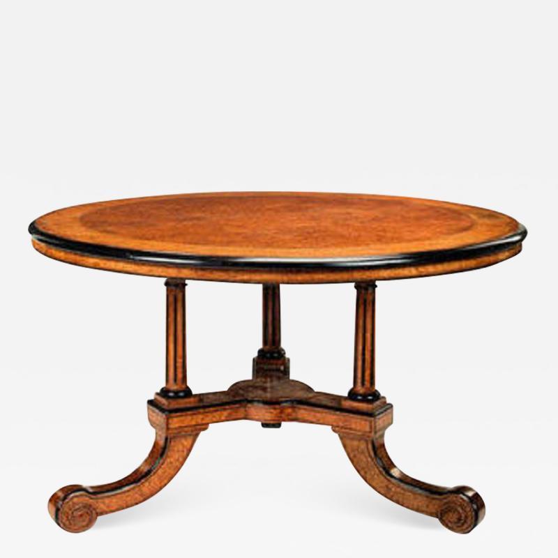 Victorian amboyna burr walnut ebonised harewood and purplewood centre table