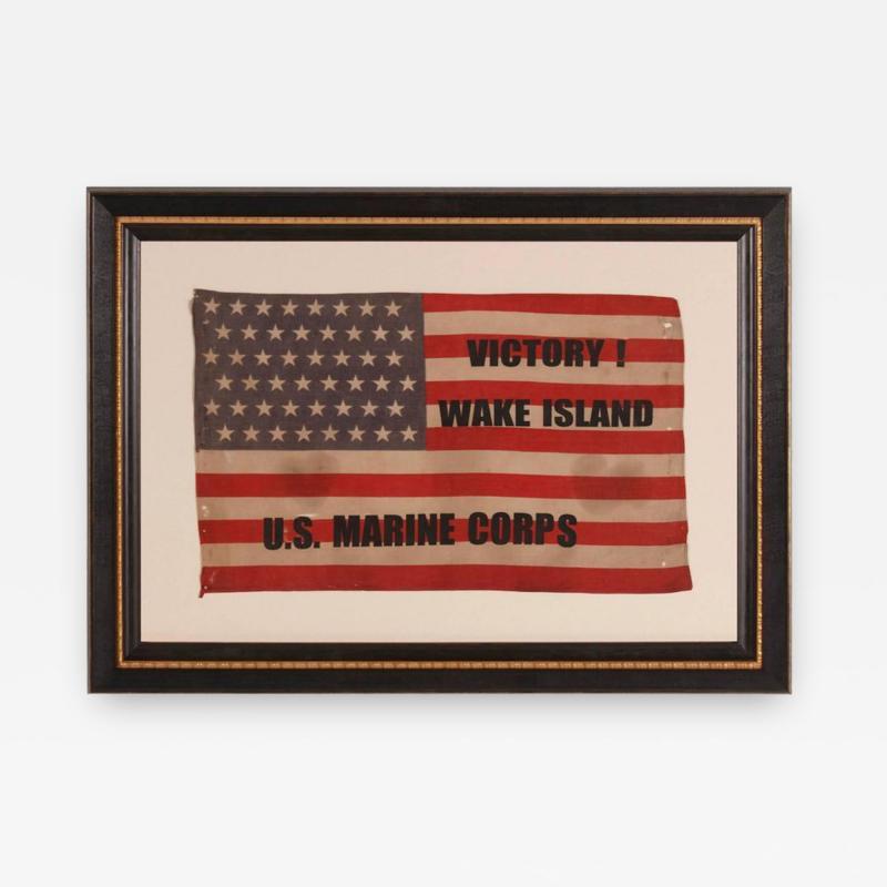 Victory at Wake Island U S Marine Corps Overprinted Parade Flag