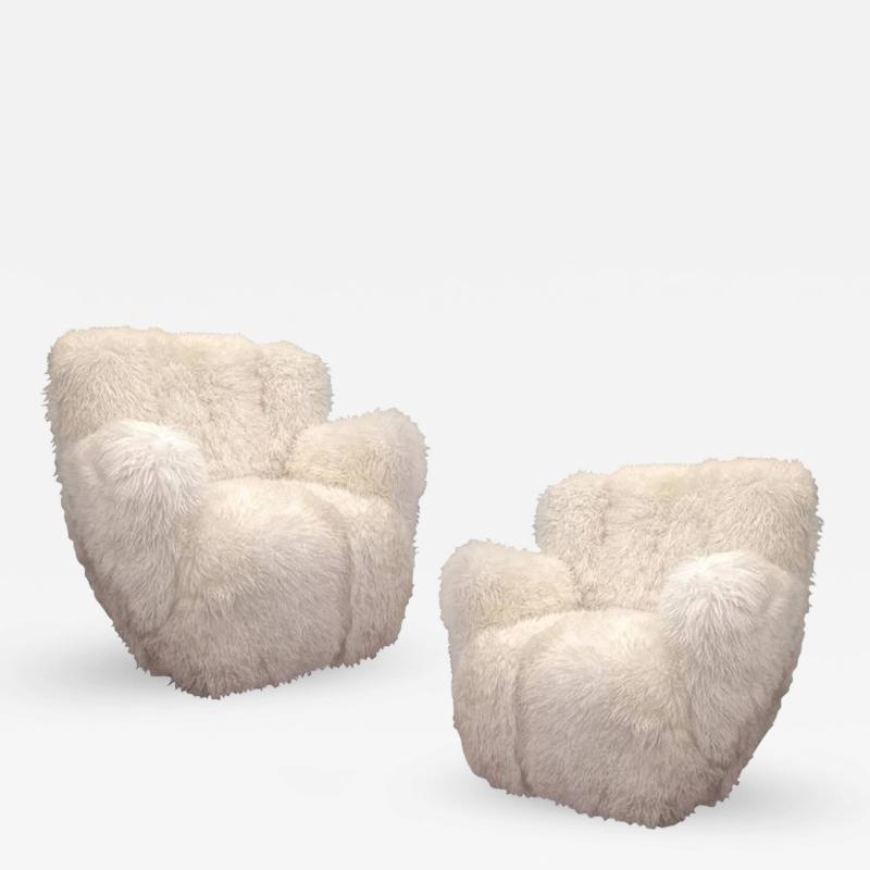 Viggo Boesen Viggo Boesen Pair of Hairy Club Chairs Covered in Sheep Skin Fur