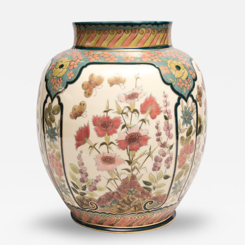 Vilmos Zsolnay Vase with Four Panels of Flowers