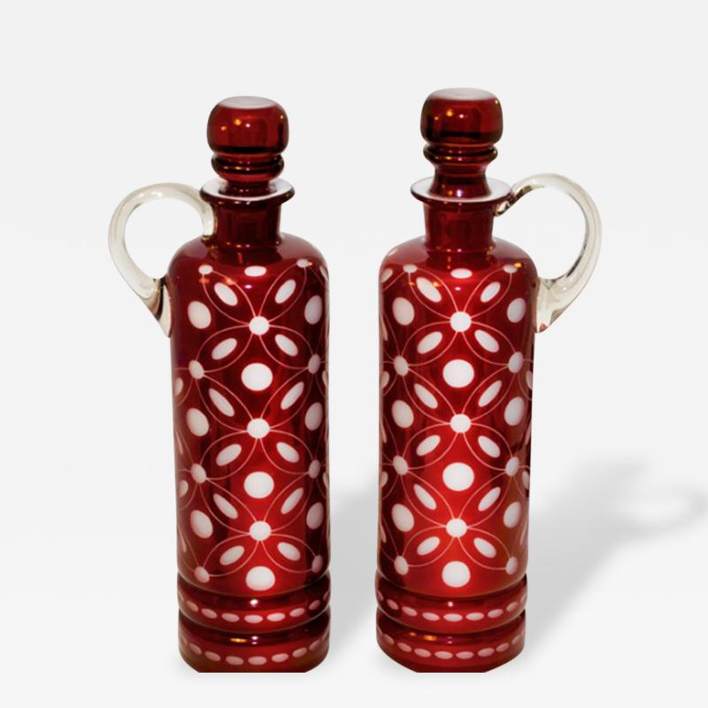 Vine Glass Decanters Pair Cranberry Glass Cut to White Opaline Glass