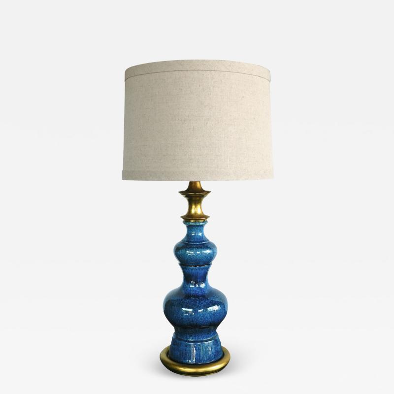 Vintage 1960s double baluster sapphire blue drip glaze lamp