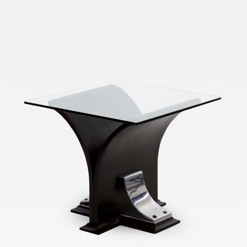 Vintage Art Deco Ebonized Walnut Aluminum and Glass Top Side Table