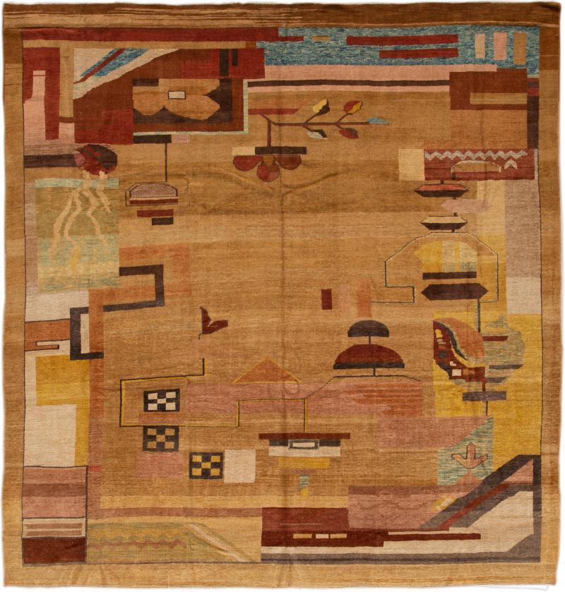 Vintage Art Deco Style Square Wool Rug
