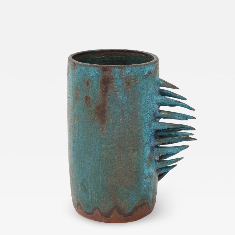 Vintage Blue Brown Ceramic Vase with Spike Edge signed