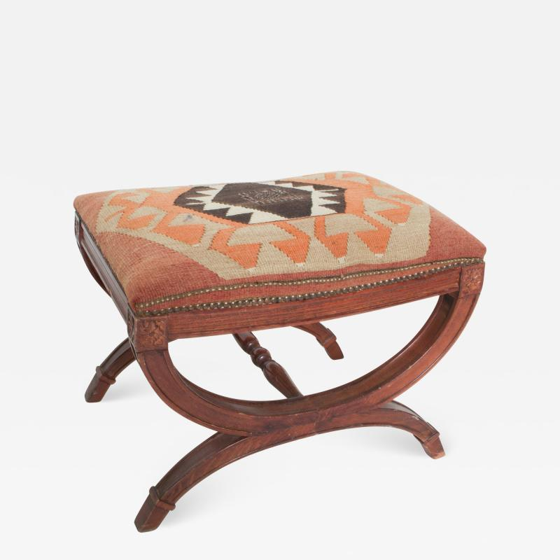 Vintage Carved Wood Curule Stool Studded Brass Bench in Handwoven Kilim