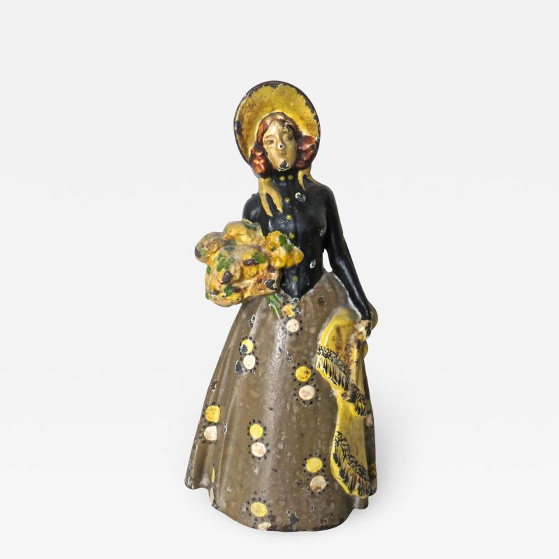 Vintage Cast Iron Doorstop Lady With Flowers American Circa 1915
