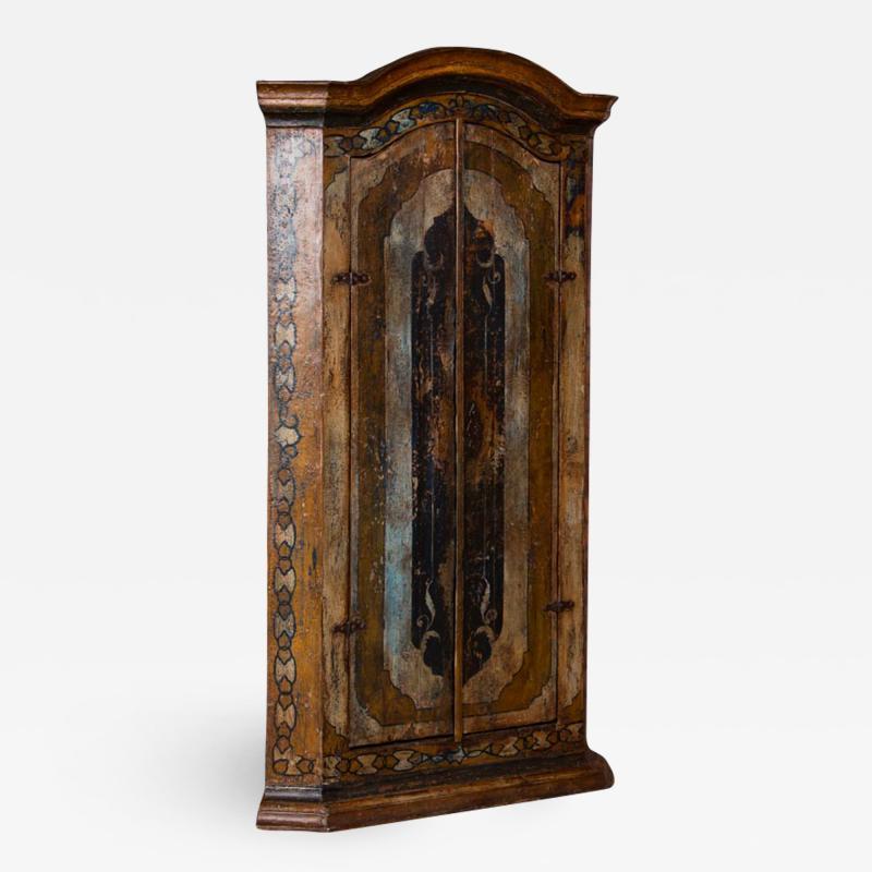 Vintage Decorative Painted 2 Door Corner Cabinet