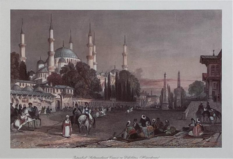 Vintage Engraving of the Blue Mosque Circa 20th Century