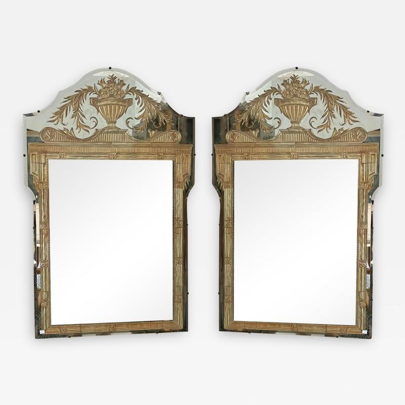 Vintage French Art Deco Eglomise Regency Mirrors a Pair