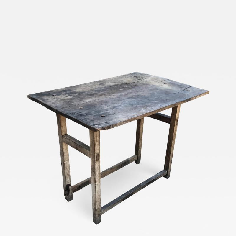 Vintage Hacienda Antique Work Table in Rustic Edge Mexican Mesquite Wood 1940s