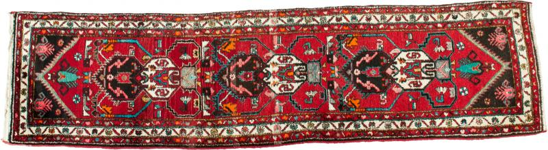Vintage Hand Knotted Iranian Wool Area Rug Runner