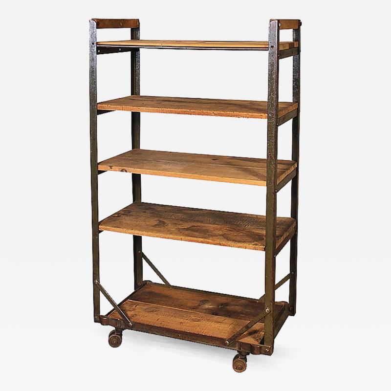 metal storage cart vintage industrial rustic wood steel storage shoe rolling 23289