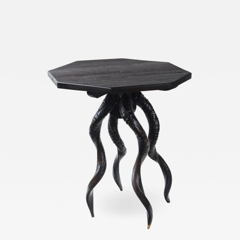 Vintage Italian Black Horn Side Table Drinks Table