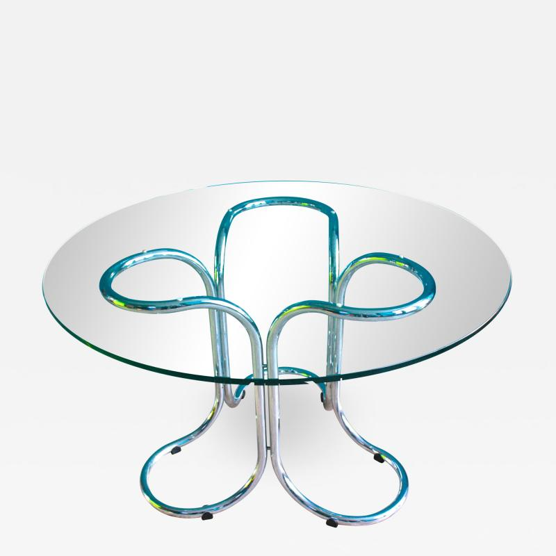 Vintage Italian Circular Glass Table with Metal Base