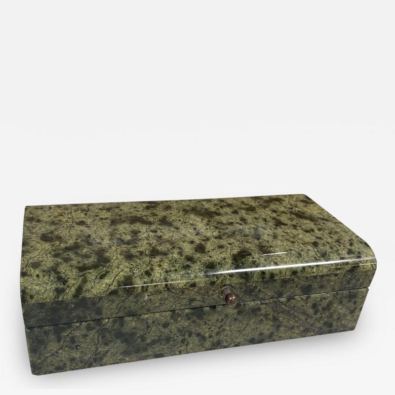 Vintage Italian Green Stone Box 1970s