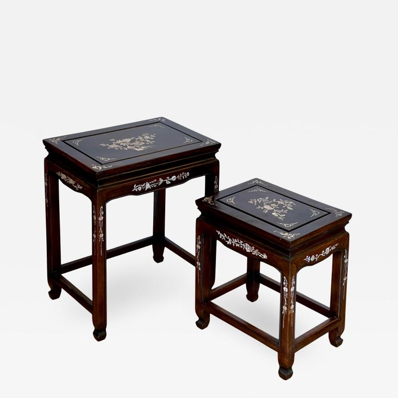 Vintage Japanese Mother of Pearl Inlaid Rosewood Nesting Tables