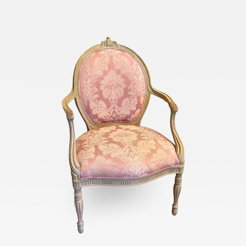 Vintage Louis XV Style Arm Chair by Interior Crafts W Pink Scalamandre Damask