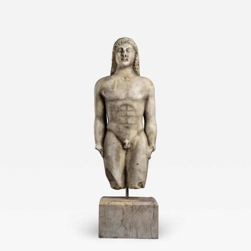 Vintage Marble Nude Figurative Sculpture of Kouros After the Antiques Grand Tour