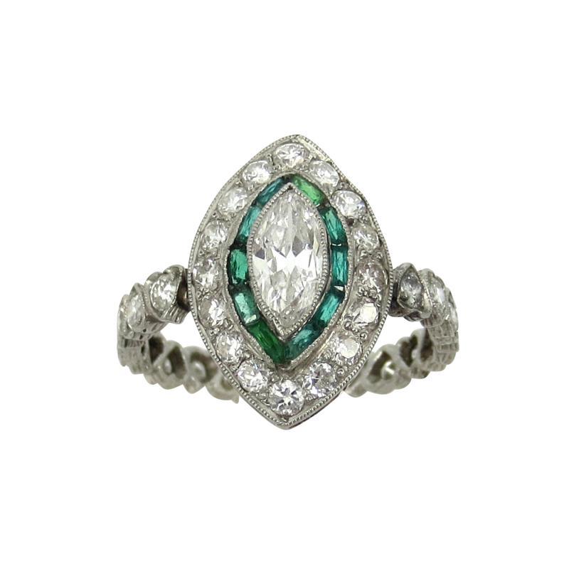 Vintage Platinum Marquise Damond and Emerald Ring