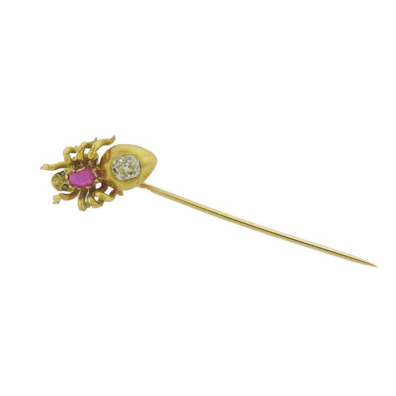 Vintage Ruby Diamond Spider Gold Stick Pin