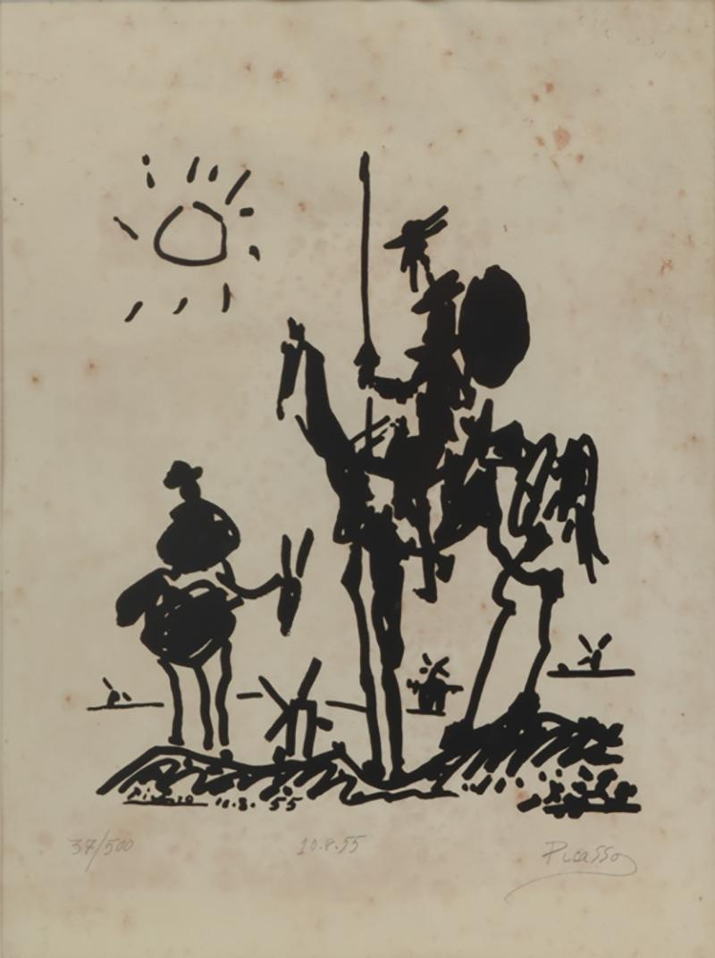 Vintage Signed Lithograph Don Quixote Of Pablo Picasso