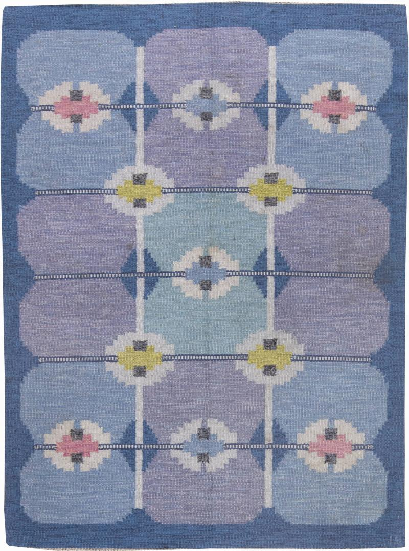 Vintage Swedish Flat Weave Rug by Ingegerd Silow