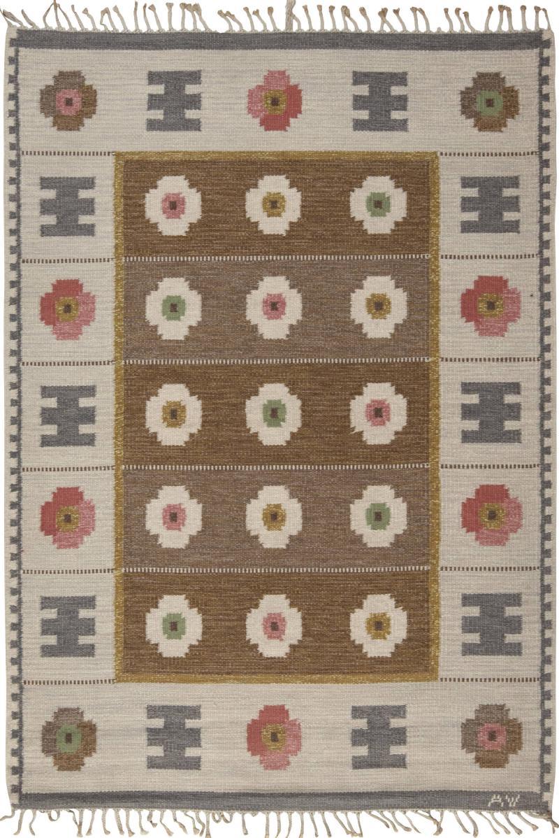 Vintage Swedish flat weave Rug signed WA