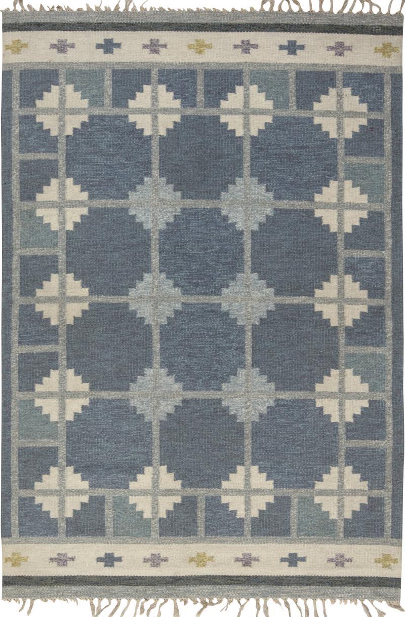Vintage Swedish flat weave rug signed by Ingegerd Silow