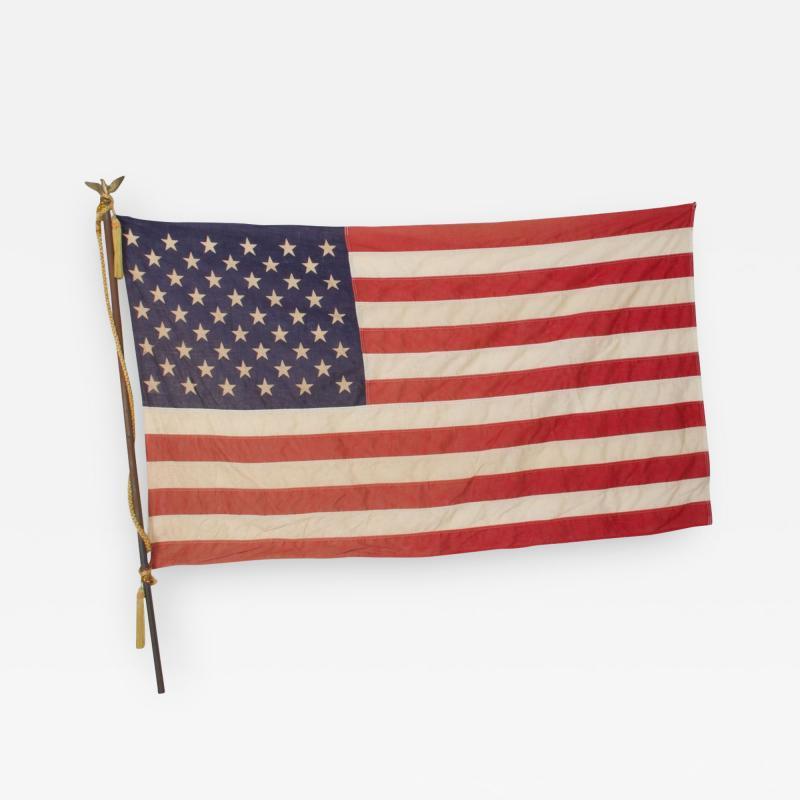 Vintage USA American FLAG 50 Star Stars Stripes on Eagle Flag Pole