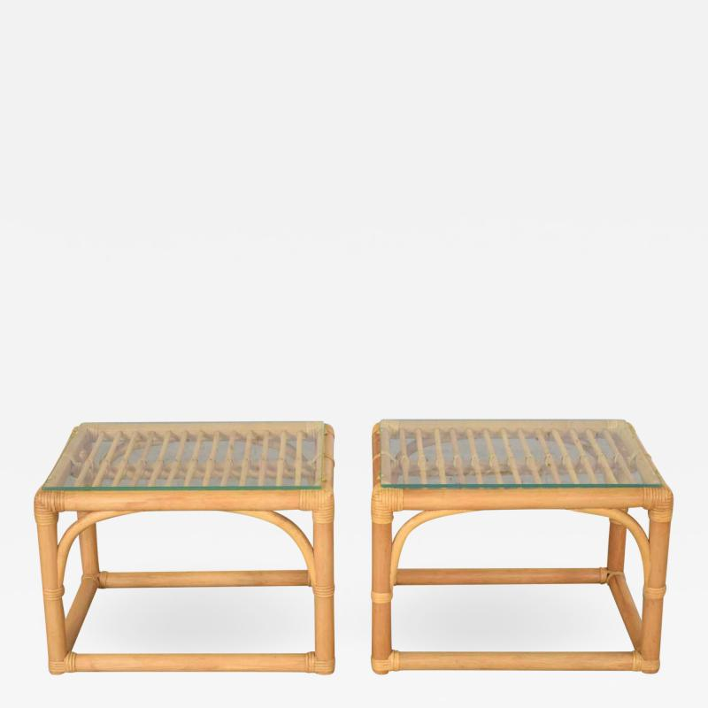 Vintage modern pair of rattan rectangular side tables or end tables w glass top